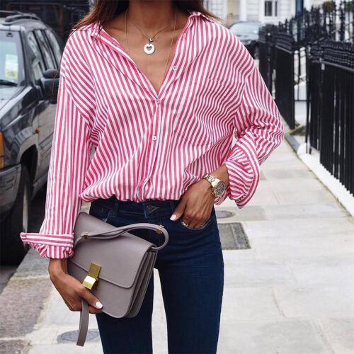 Damen Gestreift Langarmshirt Bluse V-Ausschnitt Oberteile Button Down Shirt Hemd