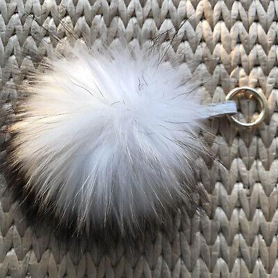 Four-color 15cm 5.9\u201c Real Fox Raccoon Fur Ball Pompom Keychain Bag Charm Pendant