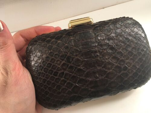 Genuine Clutch Rare Hard Case Snake Very Hand Leather Brown Skin wqaxOnq1SZ