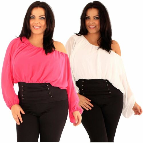 New Ladies Plus Size Corset Hem Long Sleeve Chiffon Blouse Gypsy Top 18-24