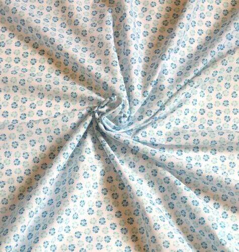 """1 x Meter white  printed cotton fabric dress craft 45"""" wide"""