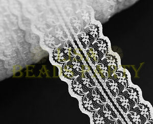 10yards-45mm-Fabric-Embroidered-Lace-Bilateral-Trim-Ribbon-Crafts-Sewing-White