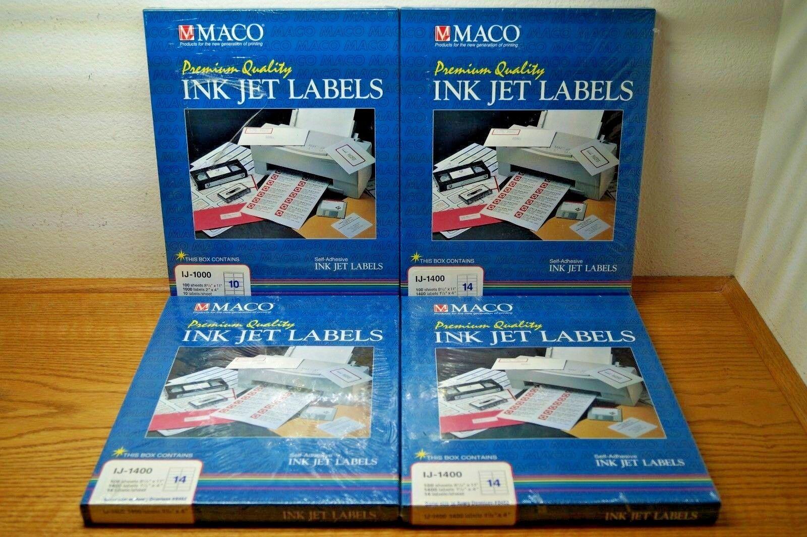 MACO INK JET IJ-1000 & IJ-1400 LABELS PER BOX NEW SEALED SELF ADHESIVE LOT OF 4