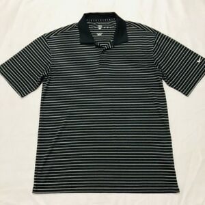 Nike-Golf-Fit-Dry-Men-039-s-Short-Sleeve-Polo-Shirt-Black-White-Striped-Sz-Medium