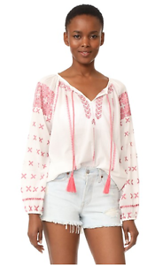 NWT  Roberta Roller Rabbit JACINDA EMBROIDERED TOP Pink White X-SMALL XS