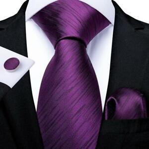 Purple-Classic-Silk-Tie-Set-Solid-Mens-Necktie-Pocket-Square-Cufflinks-Formal
