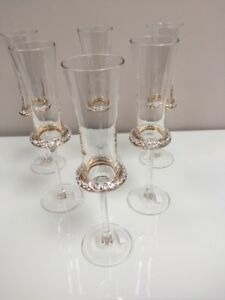 Set-of-6-Champagne-Flutes-Glasses-Diamonte-Clear-Boxed-25cm-Xmas-Gift-Drinking