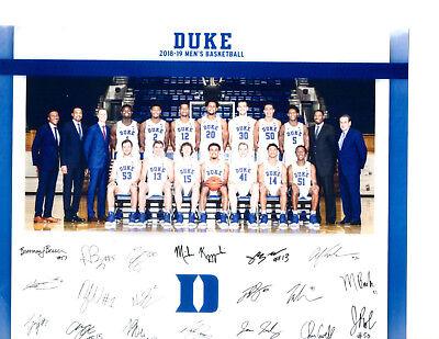 2015 2016 DUKE BLUE DEVILS 8X10 TEAM PHOTO BASKETBALL