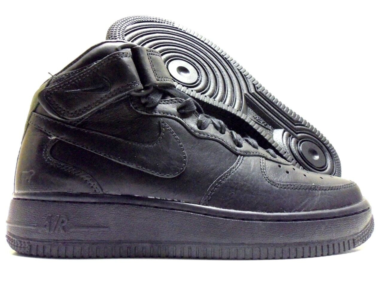 NIKE AIR FORCE 1 WILL LEATHER PREMIUM ID ALL BLACK SIZE WOMEN'S 6.5 [921291-991]