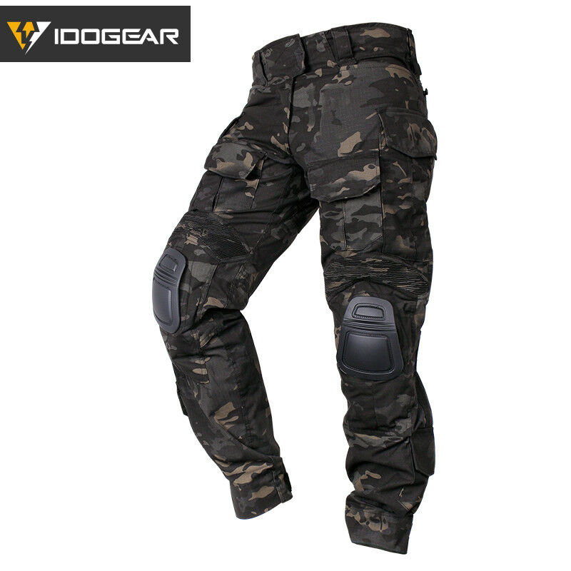 IDOGEAR G3 Combate Pantalones Con Rodilleras Airsoft Táctico Pantalones Negro Multicam