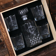 Personalized Whiskey Decanter, 4 Whiskey Glasses & Wood Gift Box Groomsmen, Dad