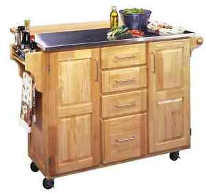 rolling kitchen cart island quality hardwood construction stainless steel top. Black Bedroom Furniture Sets. Home Design Ideas
