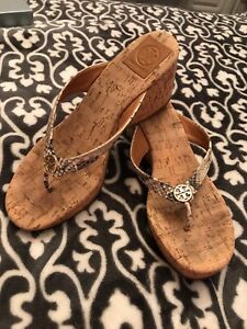 0077885aaeb2a7 Image is loading Tory-Burch-Thora-Cork-Wedge-Leather-Sandal-Size-