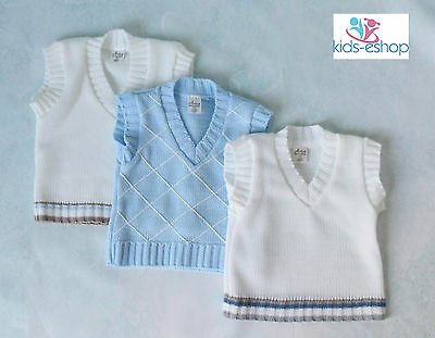 Baby Boy Tank Top White Blue 0-18m