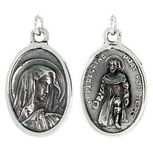Sterling silver virgin mary and st peregrine medal pendant charm image is loading sterling silver virgin mary and st peregrine medal mozeypictures Gallery