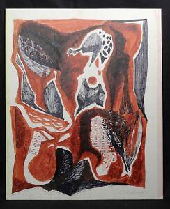 Huile Sur Toile 1970, Paris Dédicacée à Jean Picart Le Doux Abstrait