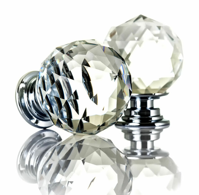 16//24//32xClear Crystal Glass Door Knobs Cupboard Drawer Cabinet Kitchen Handles