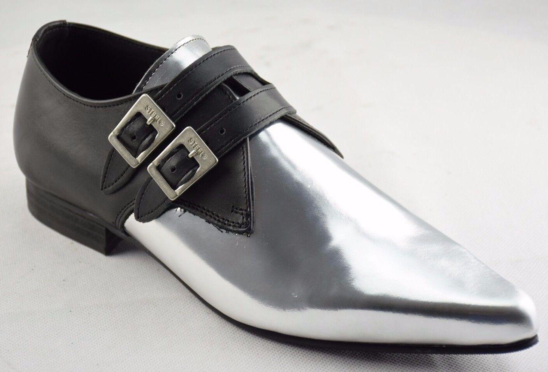 Scarpe di argento terra in acciaio nero argento di in pelle MONK FIBBIA stivali casual a punta d8084c