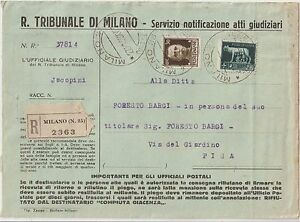 ITALY 1939 2,55 L ON REGISTERED JUDICIAL ACTS FROM MILANO TO PISA - Italia - ITALY 1939 2,55 L ON REGISTERED JUDICIAL ACTS FROM MILANO TO PISA - Italia