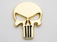 Skull Emblem Badge Stikcer Oil Tank Fairing Motorcycles Choppers Bobbers 3D Gold