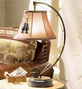 Catch Of The Day Table Lamp Fly Rod Reel Fish Rustic Cabin Lodge Decor New Ebay