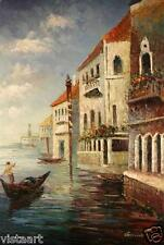 "Oil On Stretched Canvas 24"" X 36""- Venetian Gondola"