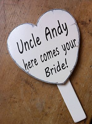 Hand held HERE COMES THE BRIDE shabby wedding sign distressed vintage style,