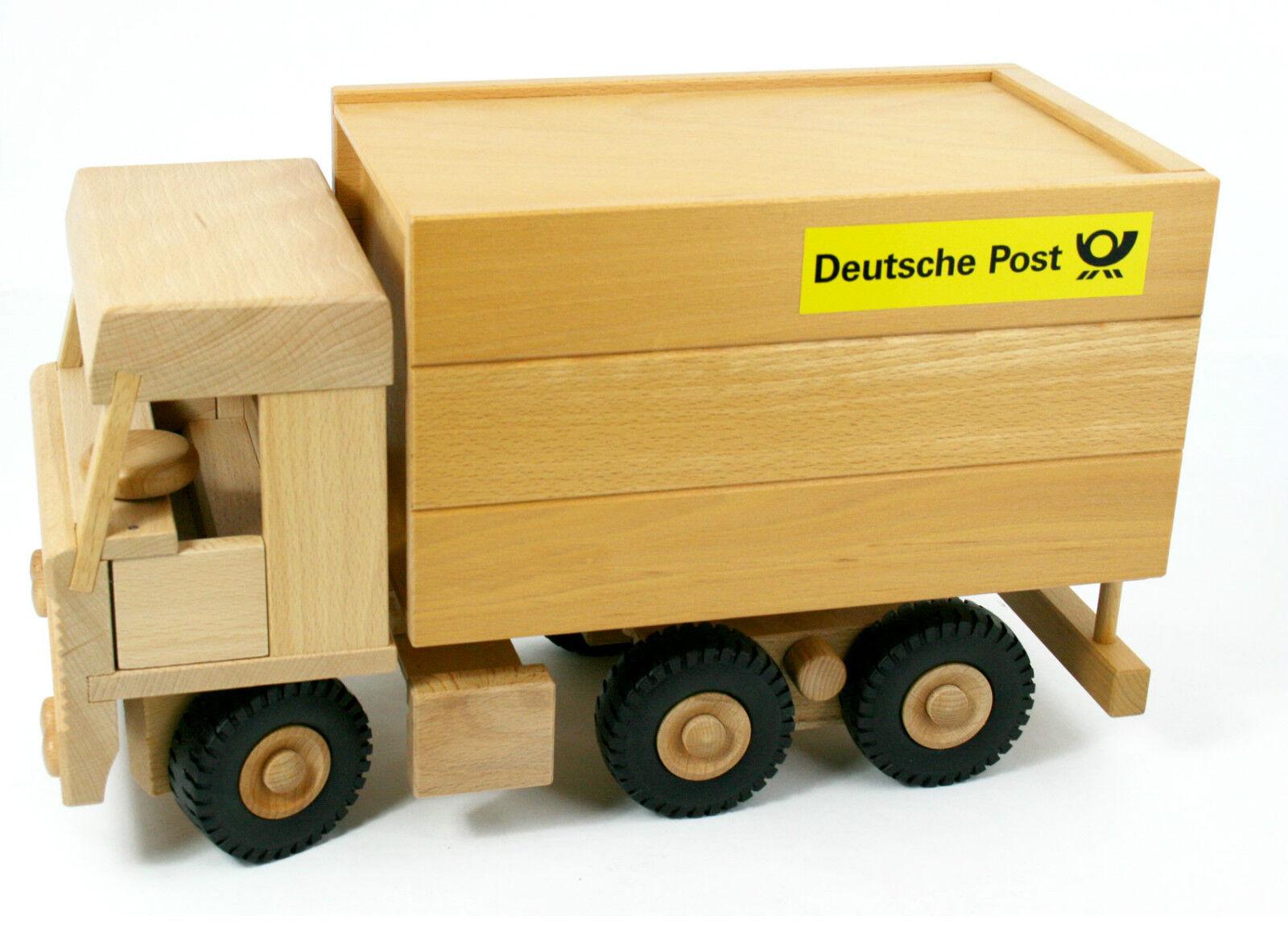 Drewa Fahrzeug LKW Post aus Holz Holz Holz Lastwagen lenkbar 3-Achs Koffer 8v NEU 6798f3