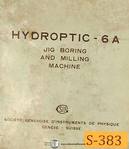SIP 6A, Jig Boring Milling Service Manual