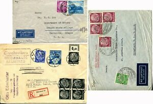 3-Germany-to-USA-Airmail-Luftpost-Registered-Censored-Cover-Postage-Collection