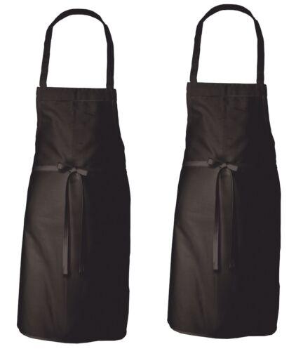 6PK WOMAN/'S BAKING COOKING KITCHEN SERVING WAITER BIB BLACK APRON 100/% COTTON