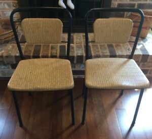Incredible Details About Vintage Cosco Gatefold Folding Chairs 50S 60S Set Of 2 Faux Wicker Creativecarmelina Interior Chair Design Creativecarmelinacom