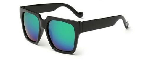 Large Wide Men Korean Square Retro Sunglasses Black Frame Color Mirror Dark Lens