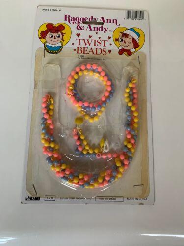 1982 Vintage raggedy ann And Andy Twist Beads necklace bracelet jewelry NIP