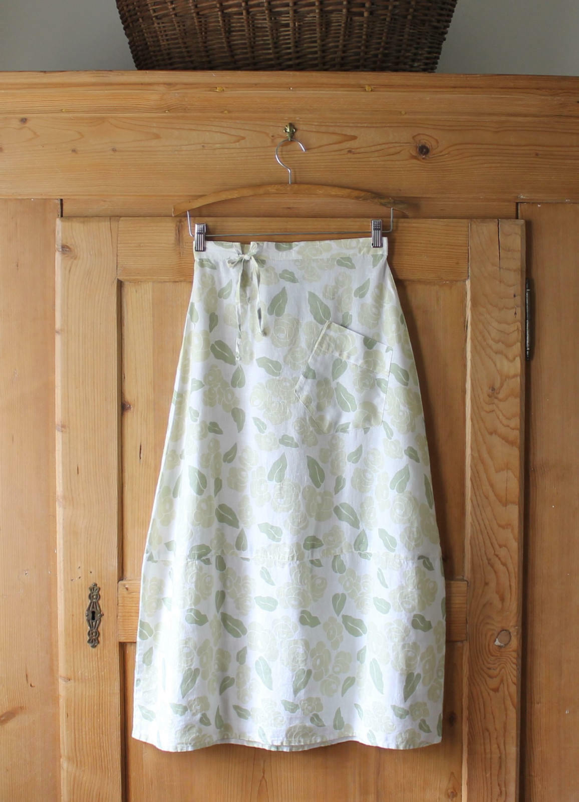 Flax A Thousand Mile Journey Begins With One Step Skirt100% Linen Sz Petite