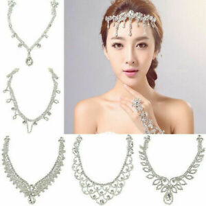 Silver-Chain-Wedding-Crystal-Charm-Bridal-Head-Hair-Headband-Headpiece-Jewelry