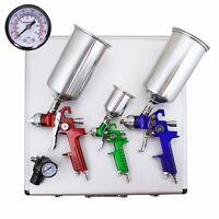 3 Hvlp Auto Paint Air Spray Gun Kit Detail Basecoat Car Primer Clearcoat + Case