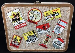 1964-OHIO-ART-Vintage-Tin-Litho-World-Travel-Sticker-Traveler-LUNCHBOX-Lunch-Box