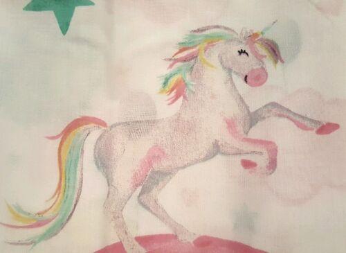 Enchanted Unicorn Single Fitted Sheet Pink White Purple Yellow Green unicorns