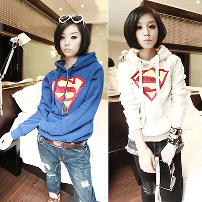 Cute Women Superman Logo Pullover Hoody Coat Loose Sweats Sweatshirt Blouse Tops
