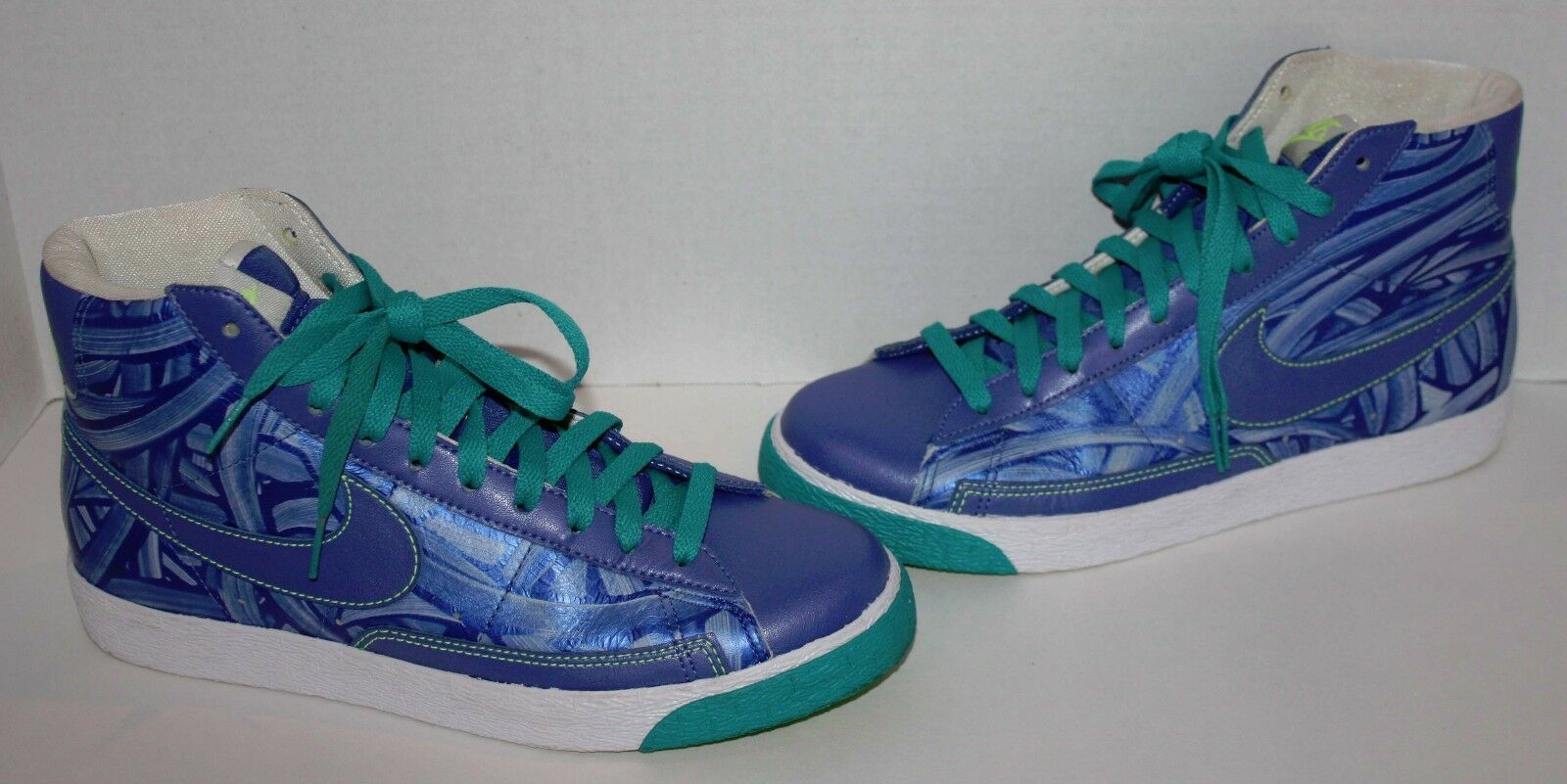 Womens NIKE Blue Leather High-Tops Sneakers Shoes Size 10