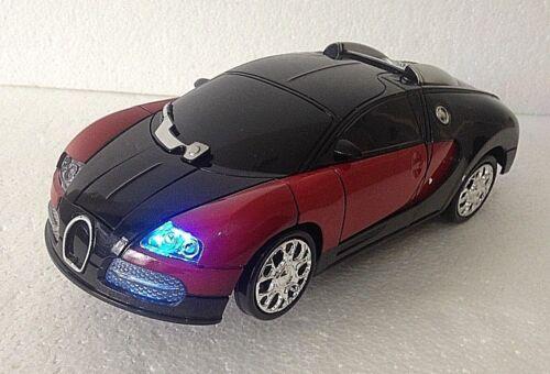 ROBOT TRANSFORMER /& CAR 2 IN 1 BUGATTI RED LIGHTS /& MUSIC ROBOT RACES CAR