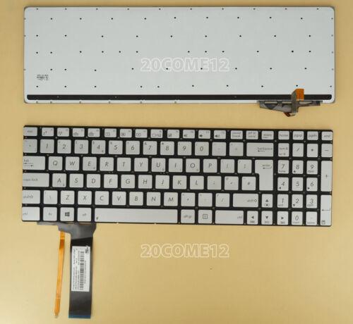 NEW for ASUS N550LF N550J N550JA N550JK Keyboard Backlit UK Silver NO Frame