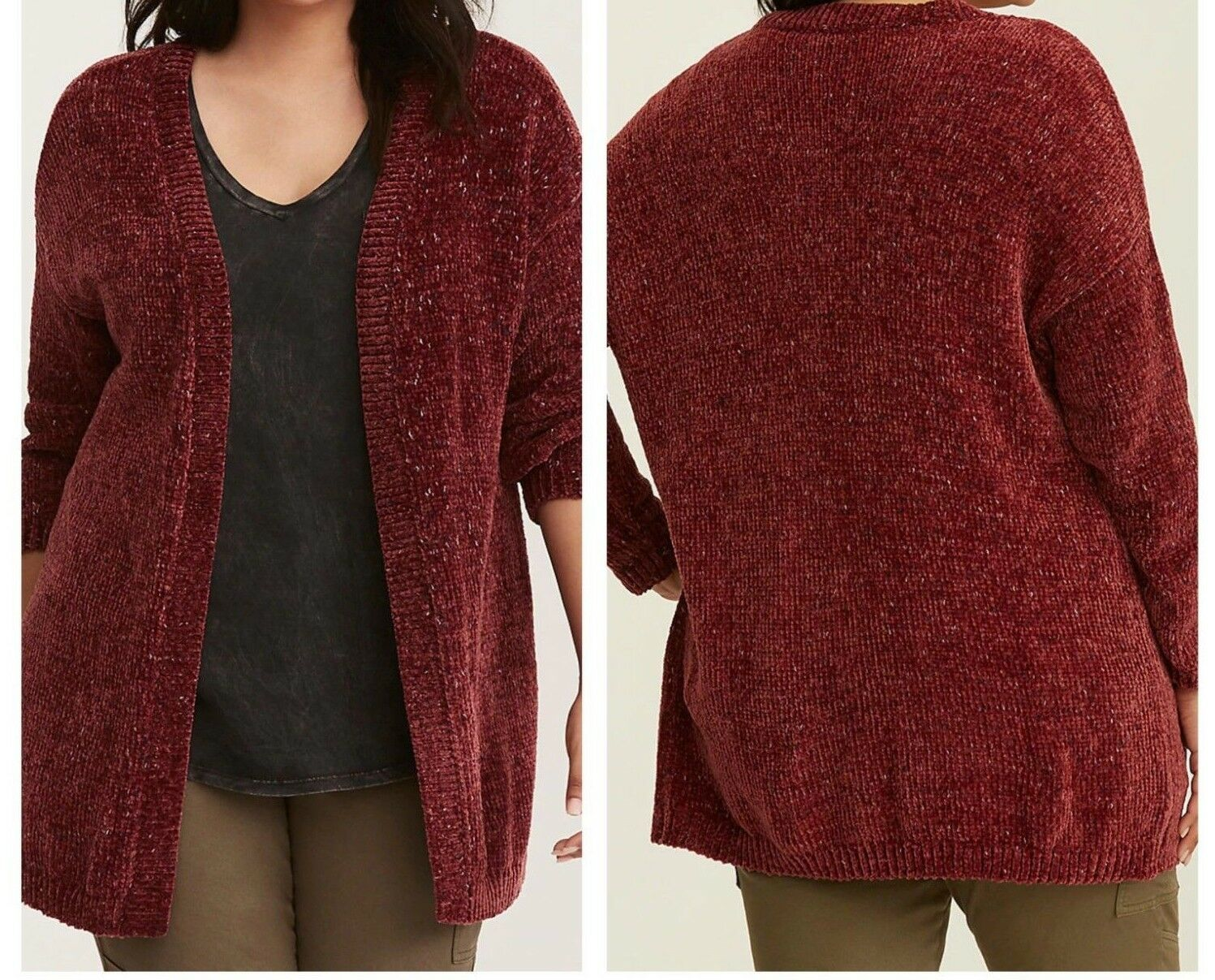 Torrid Chenille Knit Open Front Burgundy Cardigan 00X Med Large 10
