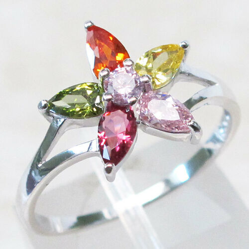 MULTI COLOR STONE FLOWER 925 STERLING SILVER RING SIZE 5-10