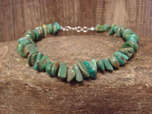 Native-Indian-Hand-Strung-8-034-Turquoise-Stone-Bracelet-by-Yazzie