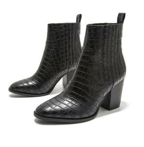Bottines à talon bottier moyen et à Enfiler Bout Pointu toe Casual Mode Femme Court Shoes
