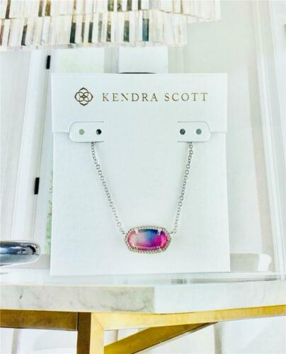 NEW Kendra Scott Elisa Watercolor Illusion Pendant Silver Necklace