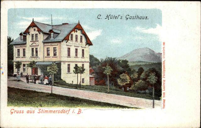 Mezná Stimmersdorf Hřens Litho 1895-1900 Gasthaus Hütel Correspondenz-Karte