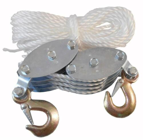 4000LB 65ft Poly Rope Pulley Block Tackle Hoist 4 Rigging Lift Safety Snap Hook